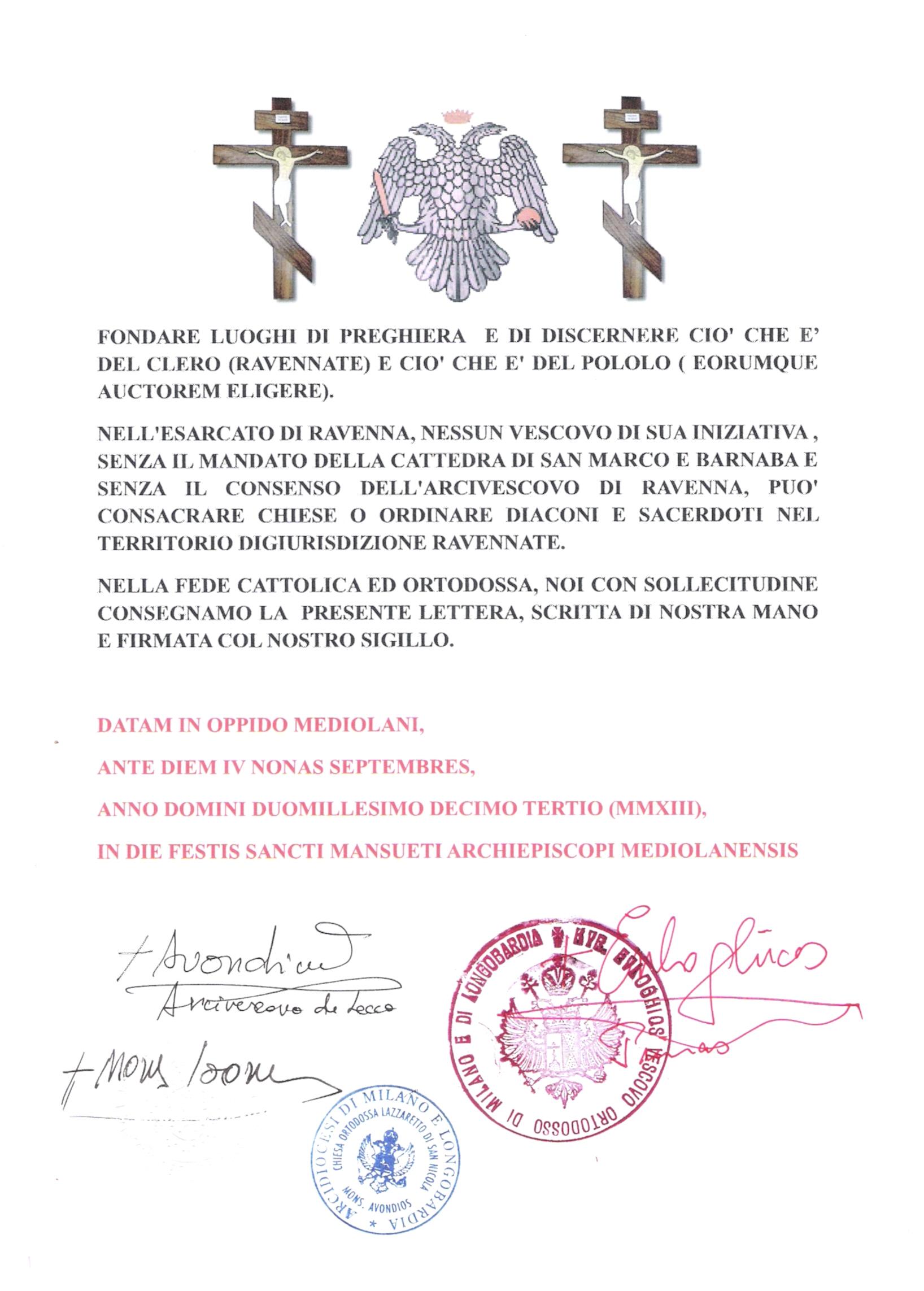 В недіРю 2 вересня 2013 за старим стиРем вРадика ВоРодимир був підвищений до сану архієпископа Равенни і Святого острова РРія Prot